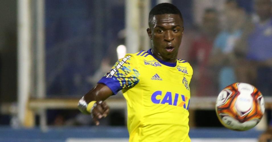O atacante Vinicius Júnior na partida entre Macaé e Flamengo, pela Taça Rio