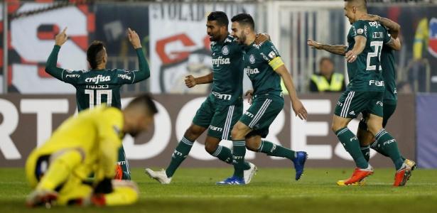 Bruno Henrique comemora gol marcado pelo Palmeiras sobre o Colo-Colo - REUTERS/Rodrigo Garrido
