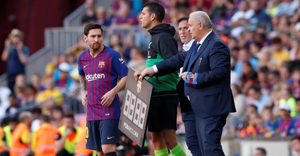 Messi começou jogo contra Bilbao no banco