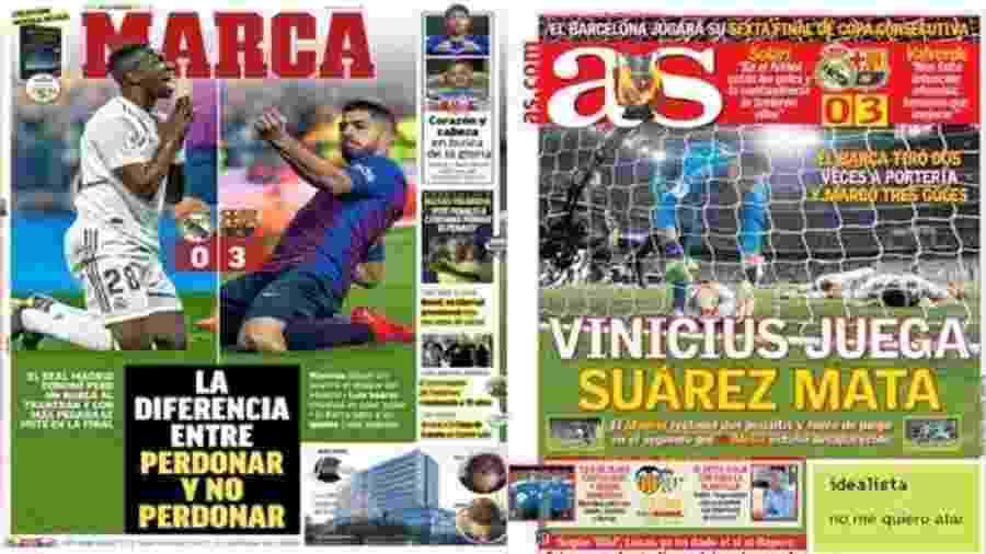 Jornais AS e Marca traçam diferenças entre Barcelona e Real Madrid em clássico - Reprodução