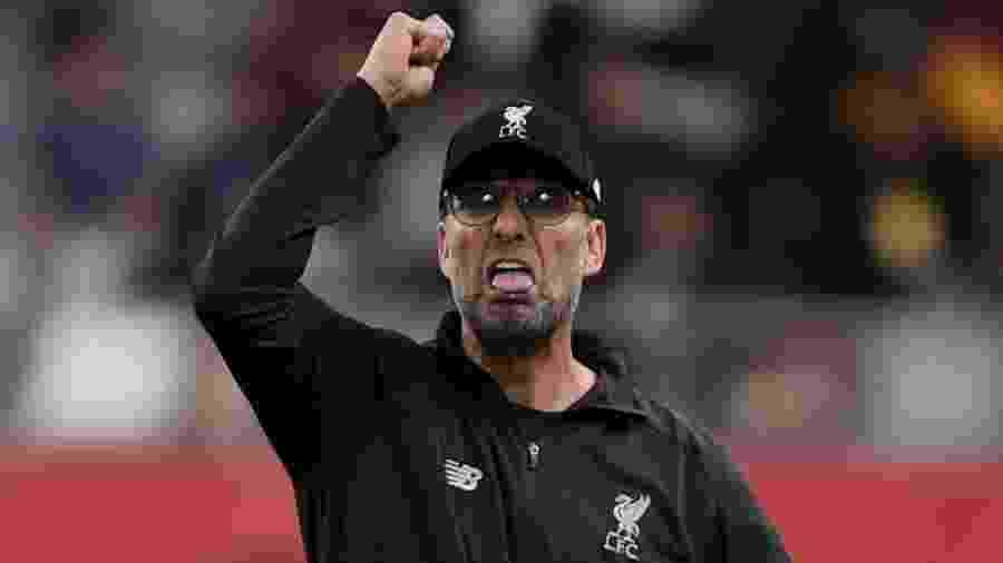 Jurgen Klopp comemorou a conquista do título inglês do Liverpool, ontem - Mike Hewitt - FIFA/FIFA via Getty Images