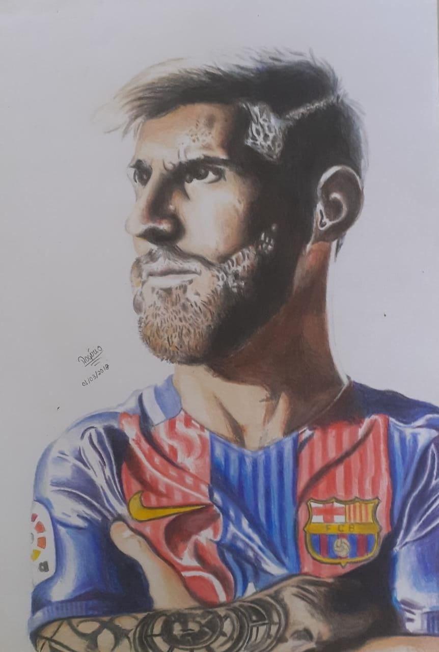 Retrato de Lionel Messi feito por Rogério Cézar, menino de 15 anos torcedor do Bahia
