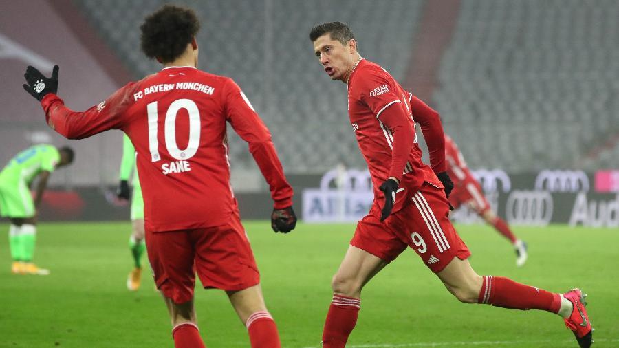 Lewandowski comemora gol do Bayern de Munique contra o Wolfsburg - Getty Images