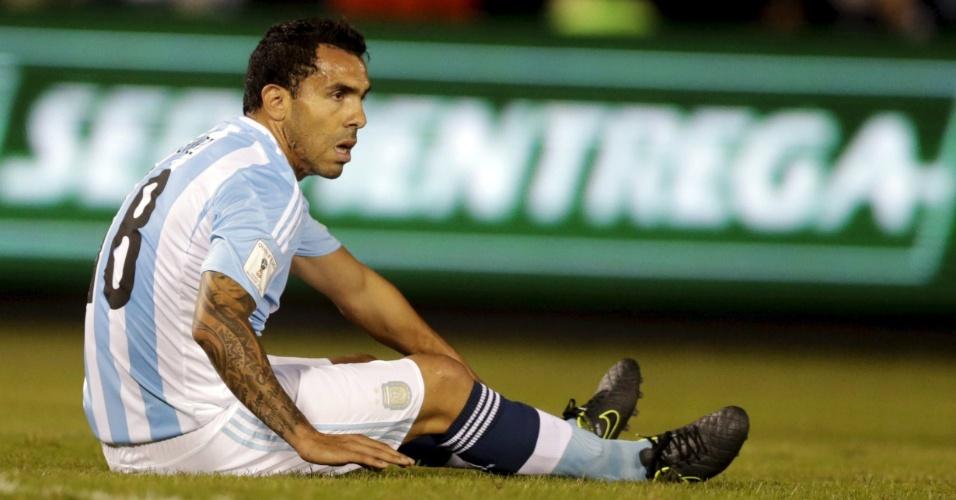 Tevez durante confronto contra o Paraguai pelas Eliminatórias sul-Americanas para a Copa do Mundo de 2018