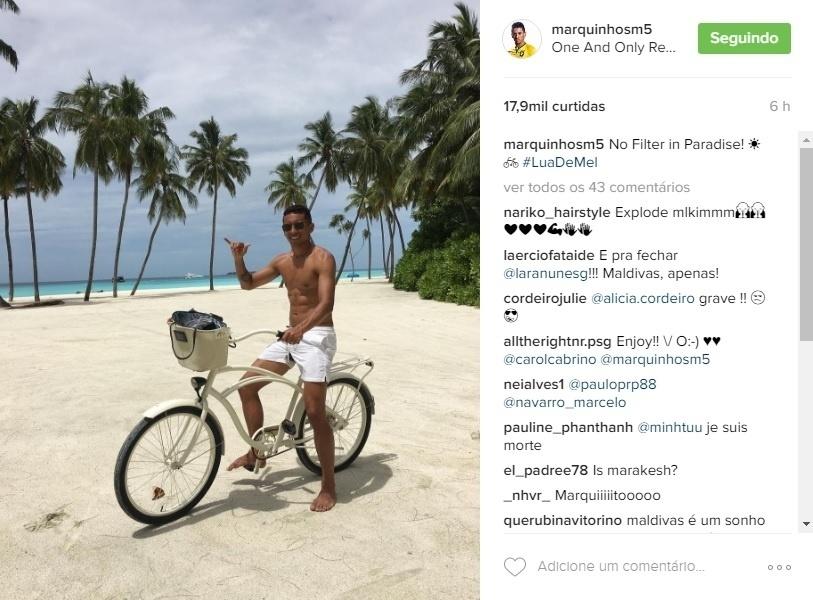 Marquinhos curte dia em resort de luxo nas Maldivas