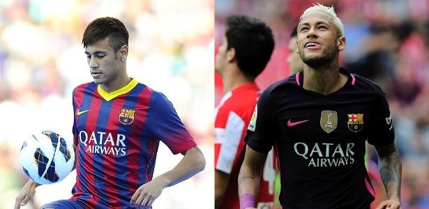Neymar em 2013, à esquerda, e em 2016, pela atual temporada no Barça - David Ramos/Getty Images e AFP PHOTO / ANDER GILLENEA