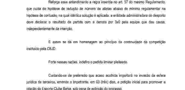 Trecho de decisão do TJD sobre pedido de liminar do Vitória sobre resultado do Ba-Vi - Reprodução/TJD-BA - Reprodução/TJD-BA