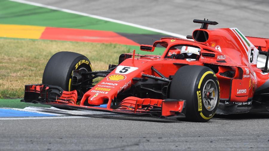 Sebastian Vettel, da Ferrari, no GP da Alemanha - AFP PHOTO / Christof STACHE