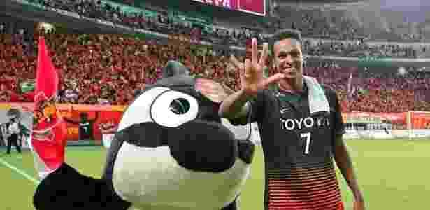 Jô celebra três gols feitos sobre o Urawa Reds: atacante manteve média alta de gols  - Reprodução/Twitter