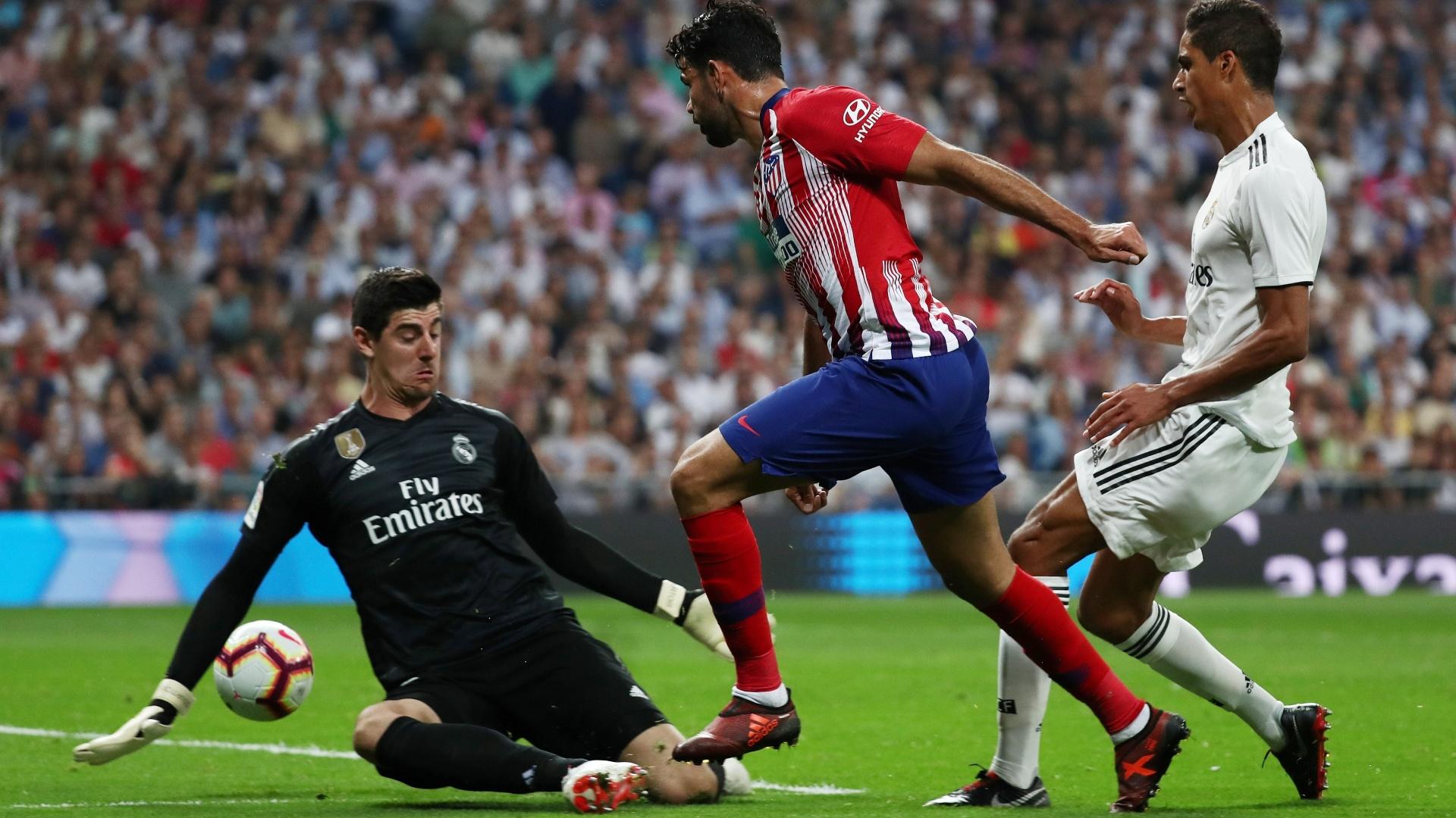 Courtois evita gol de Diego Costa no clássico entre Real Madrid e Atlético de Madri