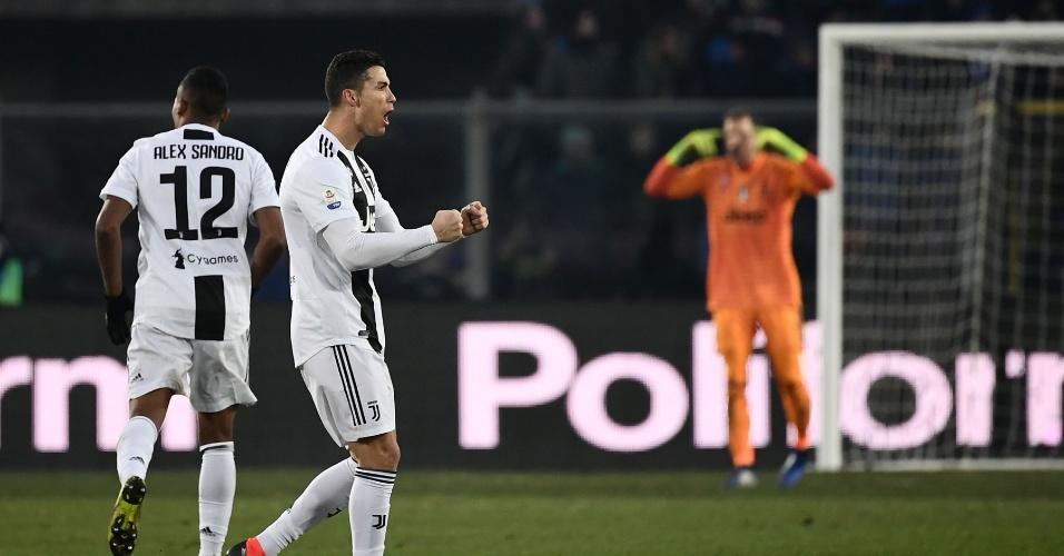 Cristiano vibra após marcar gol de empate contra a Atalanta