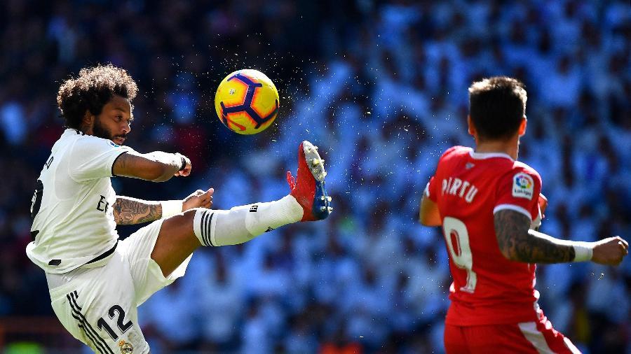 Marcelo durante partida do Real Madrid contra o Girona - Gabriel Bouys/AFP