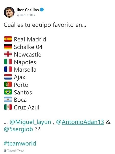 Casillas escolhe o Santos como time favorito no Brasil - Reprodução