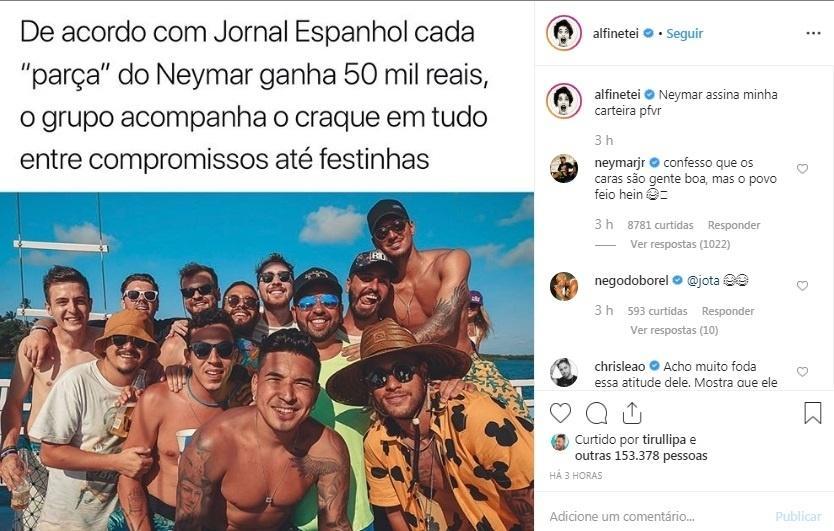 Neymar comenta post sobre seus amigos