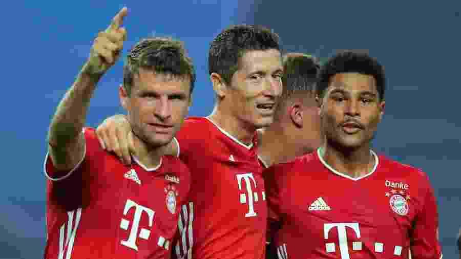 Thomas Müller, Lewandowski e Gnarby na vitória do Bayern sobre o Lyon na semifinal da Liga dos Campeões - Reprodução/Bayern Munique twitter