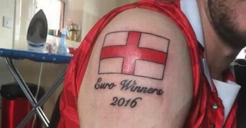 """""""Inglaterra campeã da Euro 2016"""": mais uma tatuagem feita antes da hora que acabou dando azar"""