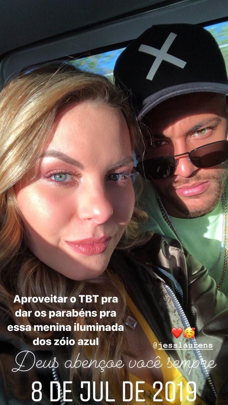 Neymar parabenizou Jessica Laurens pelo aniversário