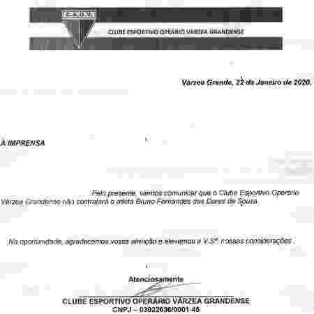 Comunicado do Operário-MT sobre a desistência na contratação do goleiro Bruno - Divulgação - Divulgação