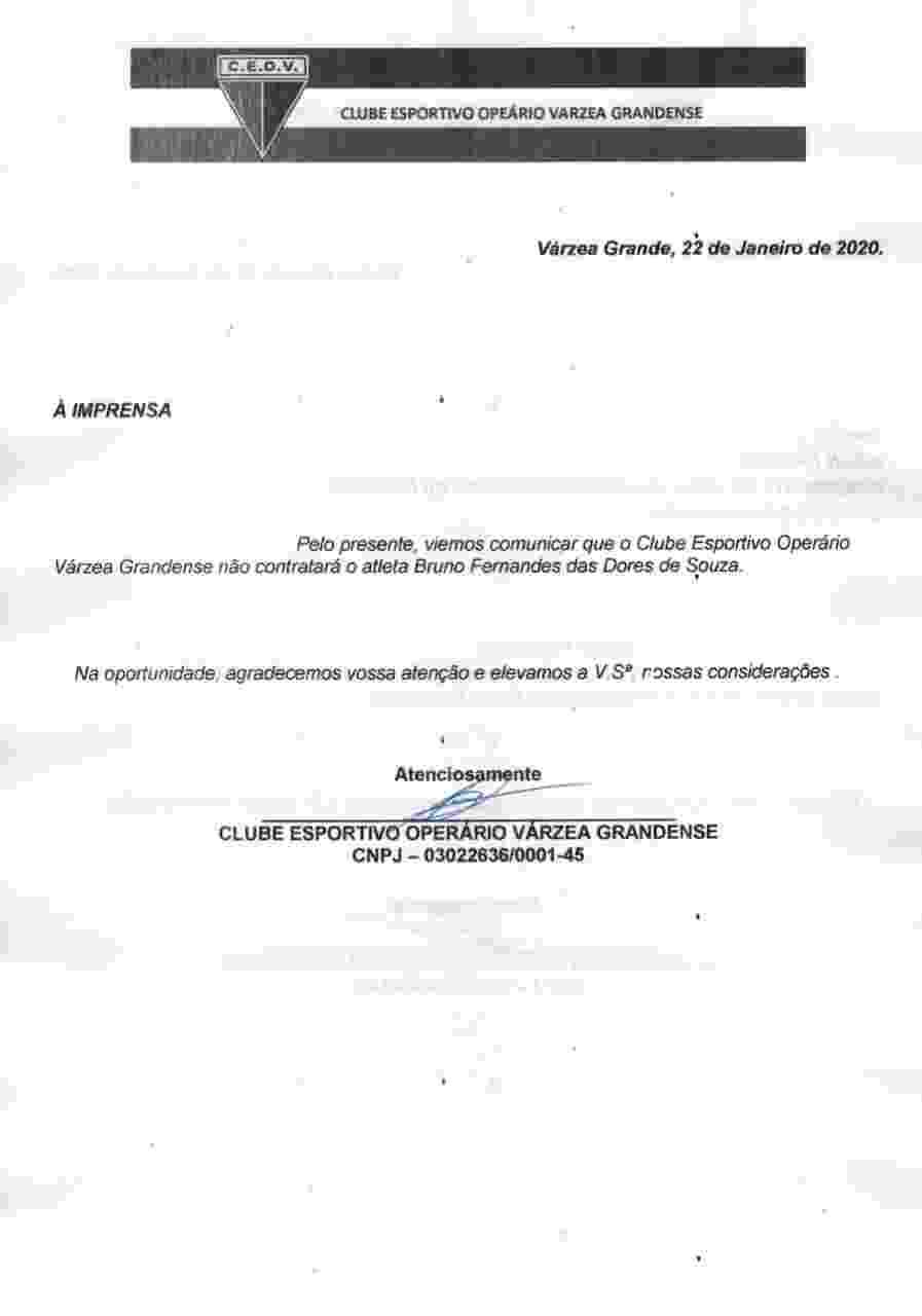 Comunicado do Operário-MT sobre a desistência na contratação do goleiro Bruno - undefined