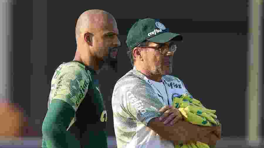 Felipe Melo e Vanderlei Luxemburgo conversam durante treino do Palmeiras - Cesar Greco/Palmeiras
