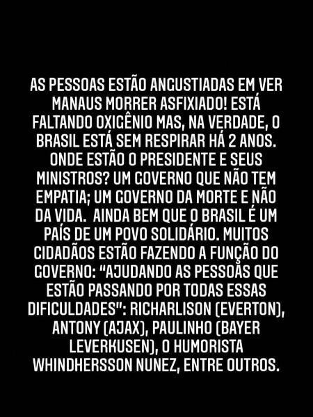 Casagrande critica governo Bolsonaro crise de covid-19 em Manaus - Reprodução/Instagram