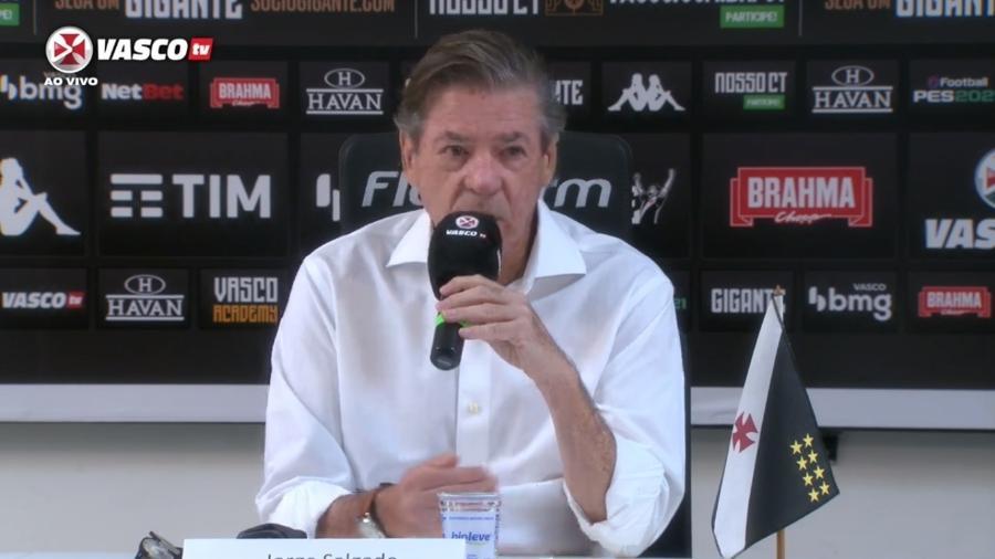 Jorge Salgado, presidente do Vasco, em entrevista coletiva - Reprodução / Vasco TV