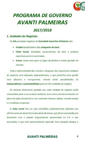 AVANTI PALMEIRAS - PROGRAMA DE GOVERNO PARA O MANDATO 2017/2018