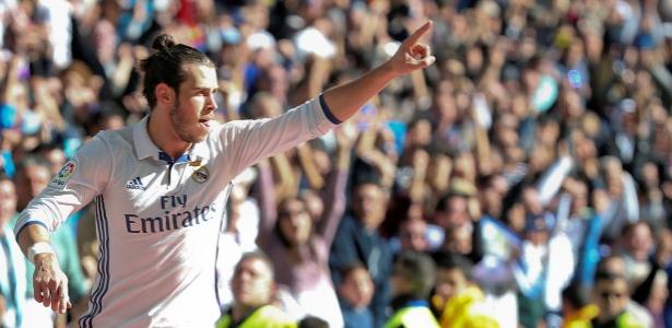 Gareth Bale comemora gol contra o Leganés pelo Campeonato Espanhol