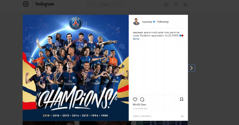 Neymar parabeniza companheiros por título
