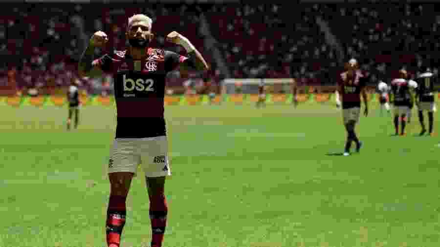 Gabigol comemorando gol do Flamengo sobre o Athletico-PR - UESLEI MARCELINO/REUTERS