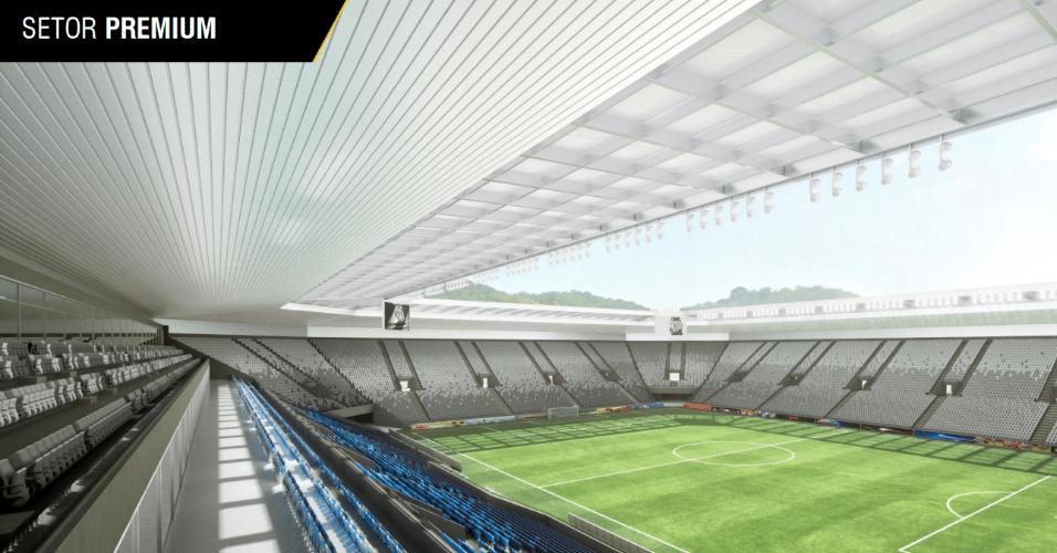 Projeto da Arena Santos prevê setor premium no alto da estrutura