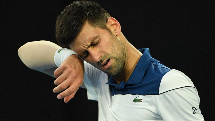 Novak Djokovic durante jogo contra Hyeon Chung - Saeed Khan/AFP