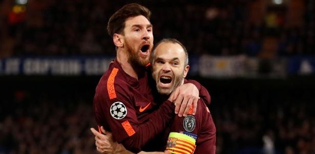 Lionel Messi comemora o gol que marcou contra o Chelsea - Andrew Boyers/Reuters