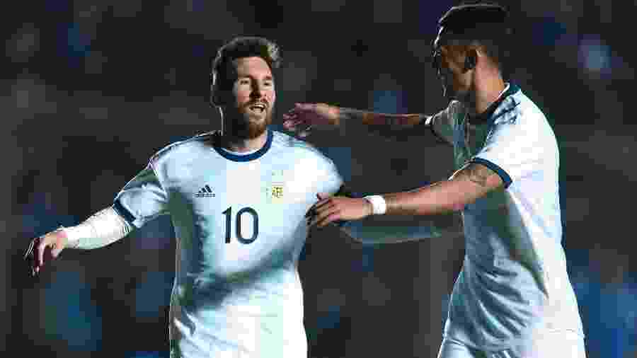 Messi comemora após marcar para a Argentina contra a Nicaragua em amistoso - Marcelo Endelli/Getty Images