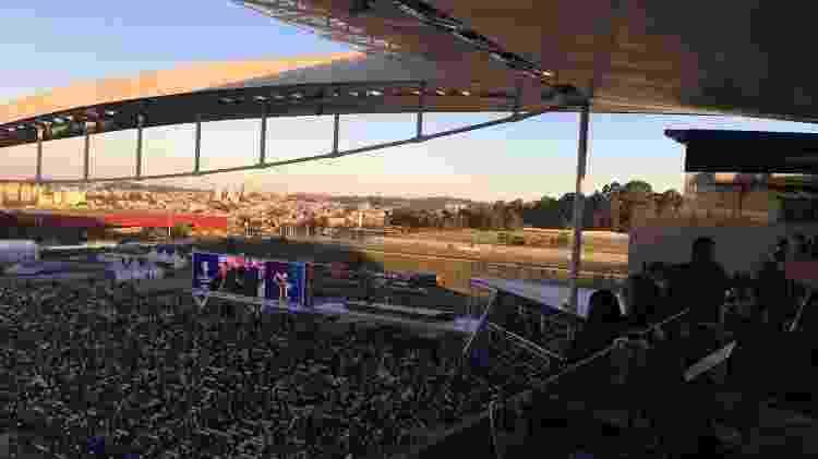 Pedido de casamento exibido no telão fez a festa dos torcedores na Arena - José Martins/UOL
