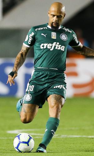 Felipe Melo, do Palmeiras, durante jogo contra o Santos