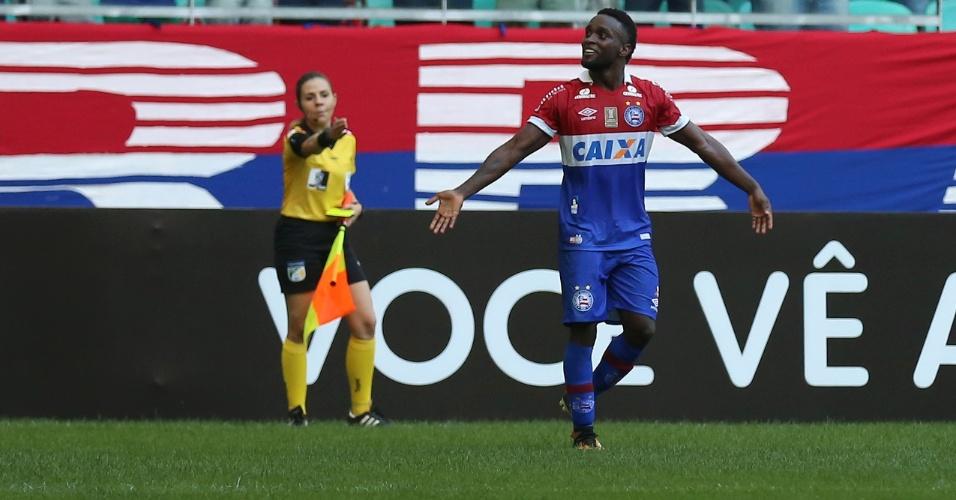 Stiven Mendoza comemora após marcar pelo Bahia sobre o Vasco