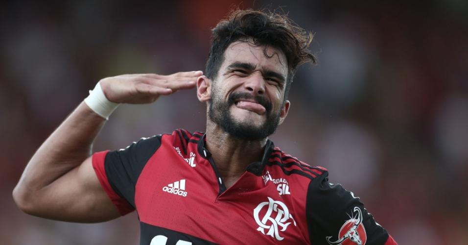 Henrique Ceifador comemora gol marcado para o Flamengo contra o Botafogo