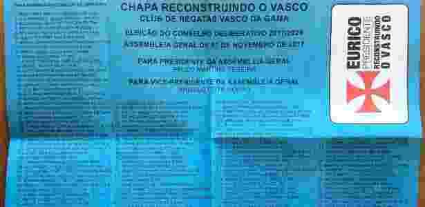 Cédula com os 160 nomes indicados pela Chapa Azul na eleição passada - Divulgação - Divulgação