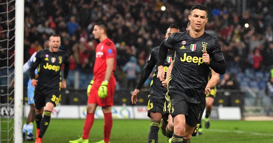 Cristiano Ronaldo comemora gol da virada da Juventus sobre a Lazio
