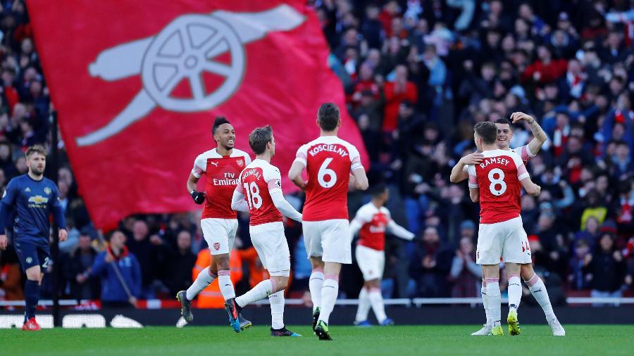 Xhaka abre o placar para o Arsenal contra o Manchester United - REUTERS/Eddie Keogh