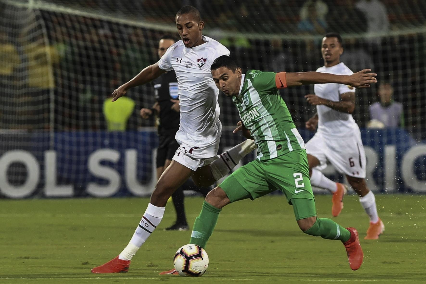 João Pedro, durante partida entre Fluminense e Atlético Nacional