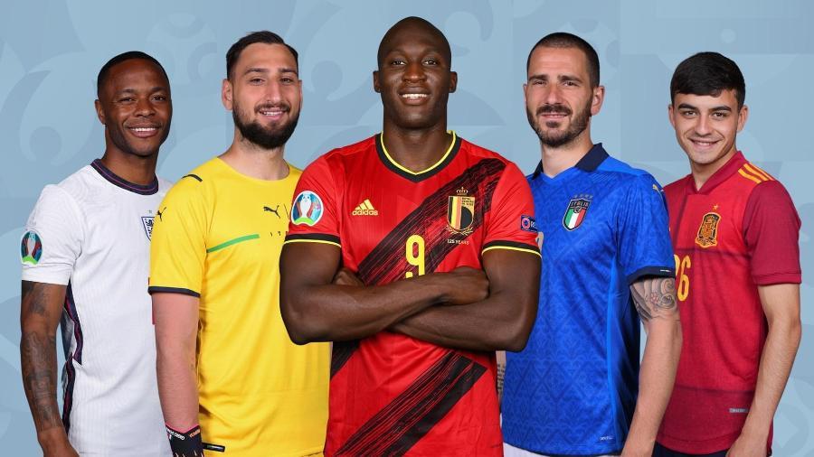 Sterling, Donnarumma, Lukaku, Bonucci e Pedri estão na seleção da Eurocopa - Divulgação/Uefa