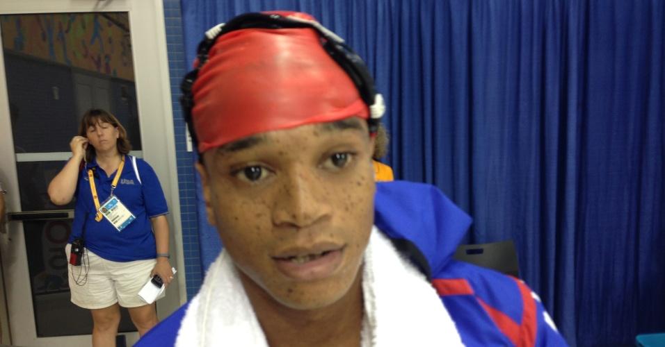 Frantz Dorsainvil, nadador haitiano que disputou as eliminatórias dos 50 m e dos 100 m livre no Pan de Toronto