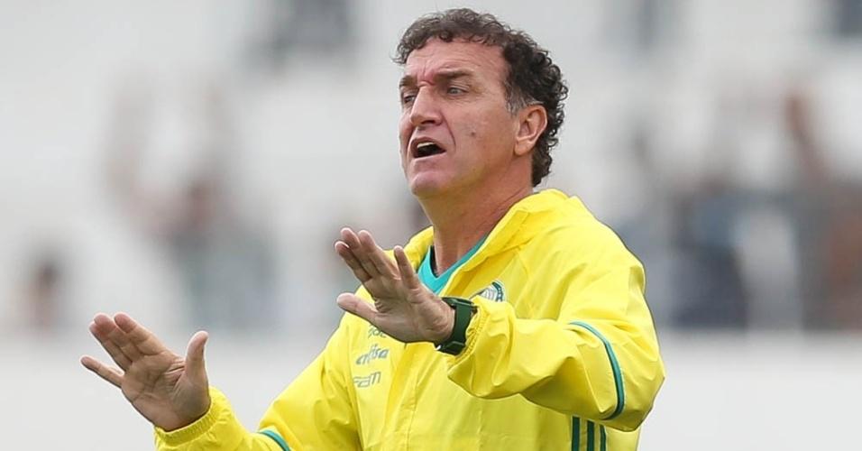 Cuca orienta os jogadores do Palmeiras na partida contra a Ponte Preta