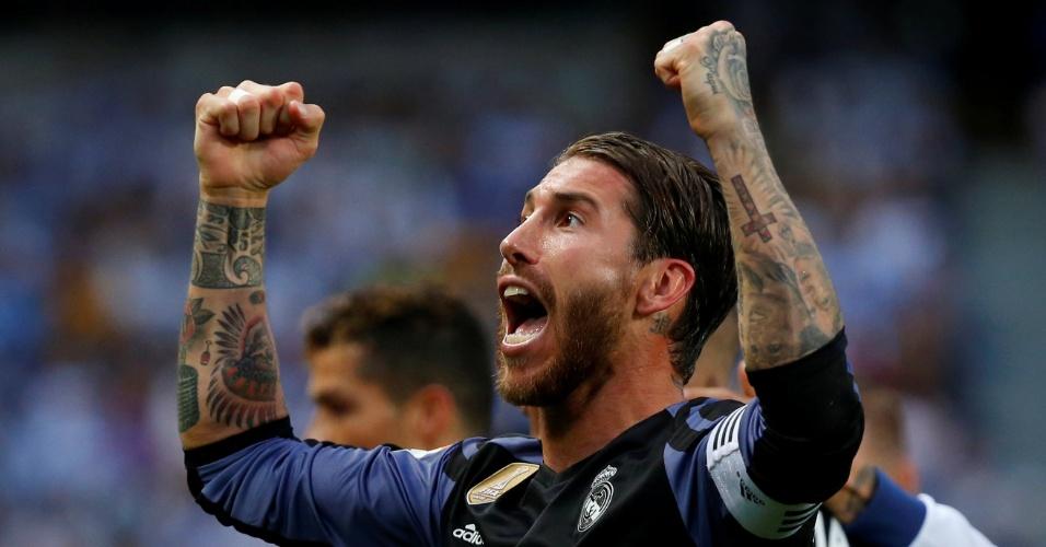 Sergio Ramos comemora título espanhol do Real Madrid após vitória sobre Málaga