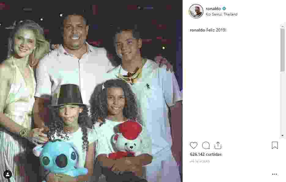 Ronaldo foi à Tailândia para celebrar em família a chegada de mais um ano - Instagram/Reprodução