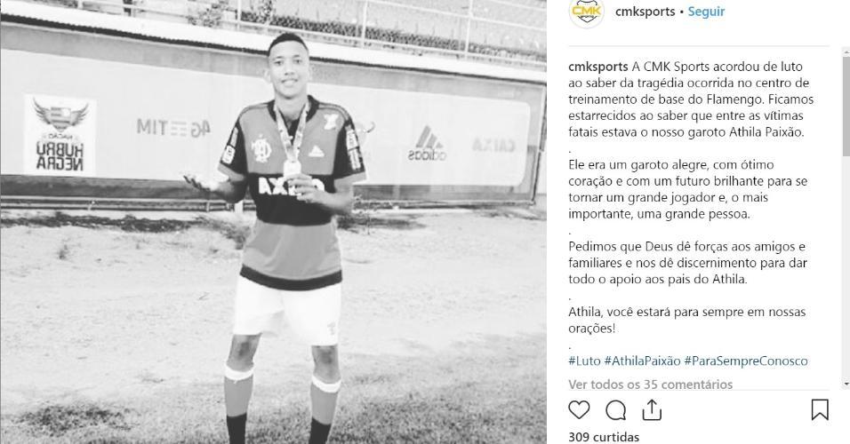 O atacante Athila paixão está entre as vítimas da tragédia no CT do Flamengo 988a5feafa093