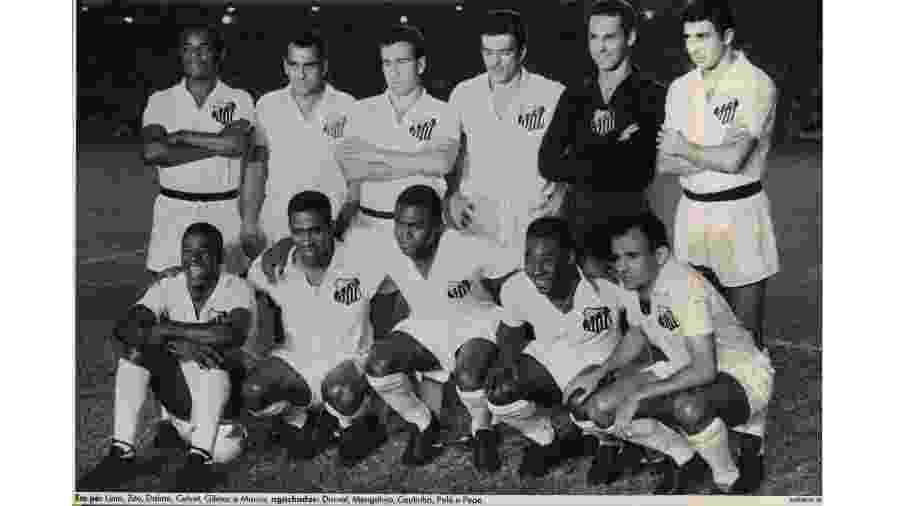 Santos campeão mundial de 1962 - Em pé: Lima, Zito, Dalmo, Calvet, Gilmar e Mauro; agachados: Dorval, Mengálvio, Coutinho, Pelé e Pepe - Reprodução