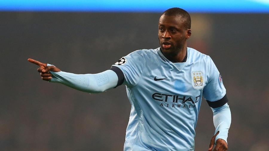Yaya Touré comemora seu gol pelo Manchester City na Liga dos Campeões - Getty Images